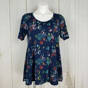 Lularoe Blue Floral Simply Comfortable Perfect Tee